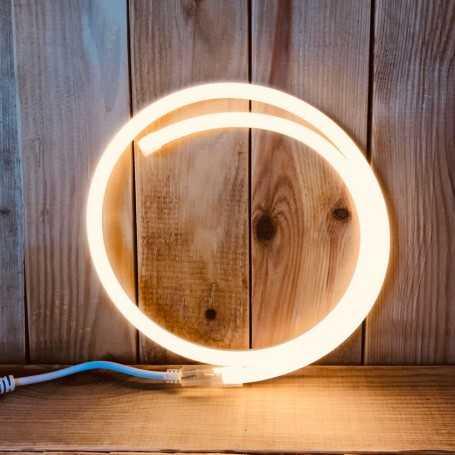 Néon LED 220V direct blanc chaud étanche. Vendu au mètre