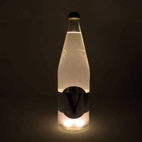 Sous verre lumineux blanc chaud à piles avec bouteille