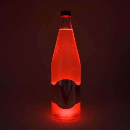 Sous verre lumineux rouge à piles avec bouteille