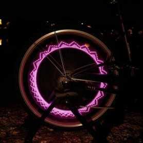 Bouchon de valve LED rose pour roue de vélo