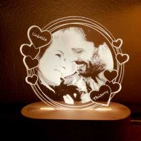 Lampe photo Plexilight LOVE RONDE sur socle ovale en bois