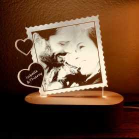 Lampe photo Plexilight LOVE TIMBRE sur socle ovale en bois