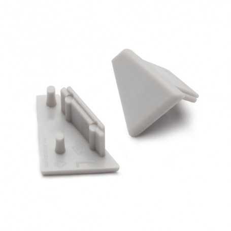 Bouchons gris pour profilé LED alu CORNER L