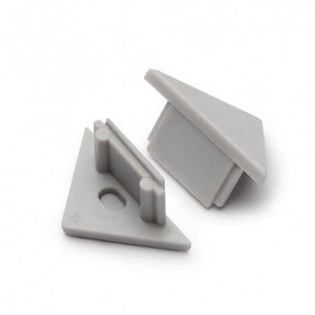 Bouchons gris pour profilé LED alu TRIO