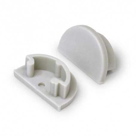 Bouchons gris ronds pour profilé LED alu ARC