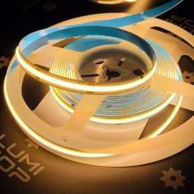 Ruban LED COB puissant 12V blanc chaud sans points 5m. Gamme PREMIUM