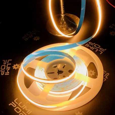 Ruban LED COB puissant 12V blanc chaud sans points 2m50. Gamme PREMIUM