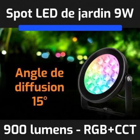 Spot LED de jardin connecté étanche RGB+CCT 9W 220V gamme LumiConnect