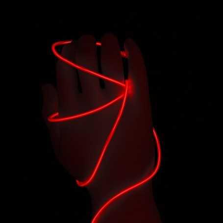 Fil lumineux rouge 2m allumé