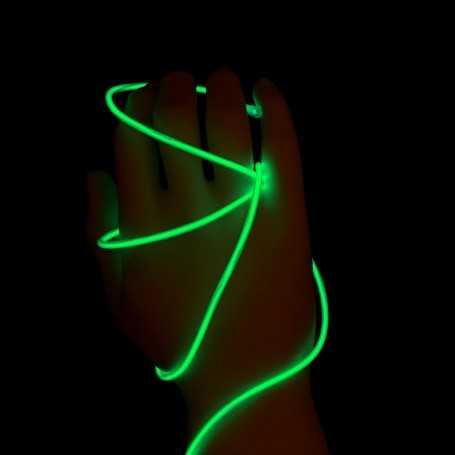 Fil lumineux vert 2m allumé