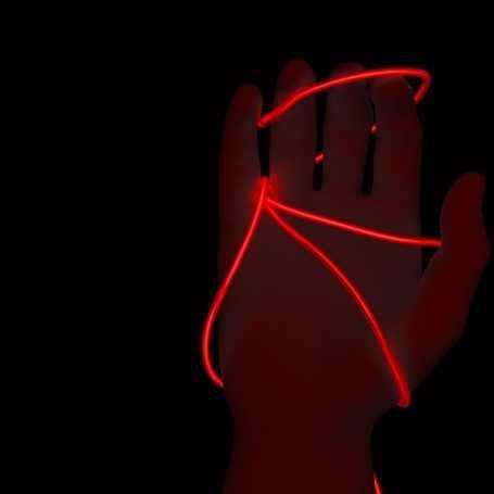 Fil lumineux rouge 5m allumé